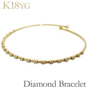 ブレスレット バングル ボールエンド 21石 ダイヤモンド K18イエローゴールド レディース|shinjunomori