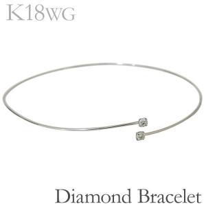 ブレスレット バングル ボールエンド 丸線型 ダイヤモンド K18ホワイトゴールド レディース|shinjunomori