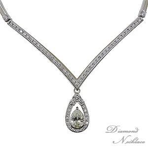 ダイヤモンドネックレス ネックレス ダイヤモンド ペアシェイプ 2.004カラット ラウンドカット 合計1.65カラット プラチナ Pt900 shinjunomori