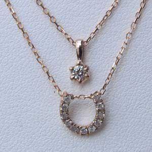 ダイヤモンド ペンダントネックレス K18PG ピンクゴールド 馬蹄モチーフ 2連ペンダントネックレス|shinjunomori