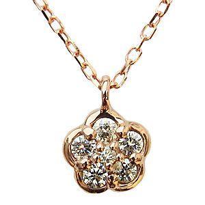 ダイヤモンド ネックレス ペンダント K18 ピンクゴールド 花 フラワー|shinjunomori
