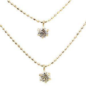 ダイヤモンドネックレス 2連ネックレス 0.15ct K18ゴールド 一粒|shinjunomori