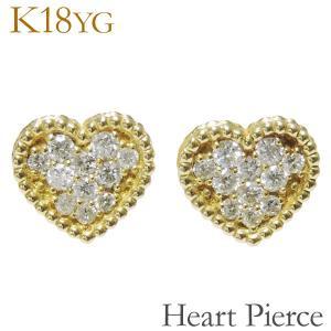 ピアス スタッド heart はーと ハート モチーフ 0.22ct ダイヤモンド K18イエローゴールド レディース|shinjunomori