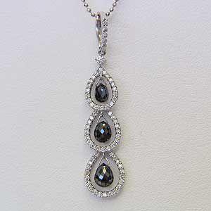 ブラックダイヤモンド ブリオレット ペンダントネックレス K18WG ホワイトゴールド スライド調節 45cmネックレス付|shinjunomori