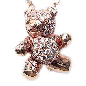 ダイヤモンド ペンダントネックレス K18PG ピンクゴールド チェーン付 ベア|shinjunomori