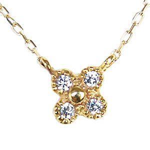 ダイヤモンド ペンダントネックレス 花 フラワー K18 イエローゴールド ダイヤ 0.04ct|shinjunomori