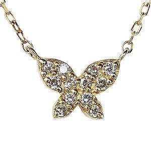 バタフライペンダント ダイヤモンドペンダントネックレス ダイヤモンド 0.06ct 18金 ゴールド K18 ダイヤネックレス チェーン付 送料無料|shinjunomori