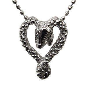 ヘビ ペンダント ネックレス ダイヤモンド スネーク 蛇 ホワイトゴールド ハート|shinjunomori