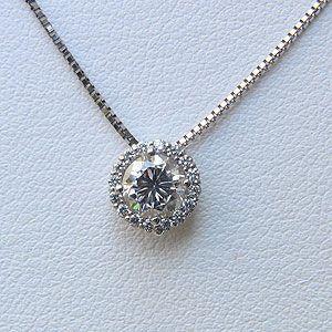 ダイヤモンド ネックレス PT900 プラチナ 0.602ct ベネチアンチェーン45cm スライド調整付き|shinjunomori