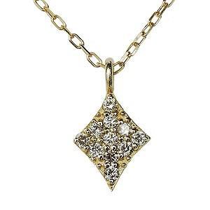 ダイヤモンド ダイヤモンドペンダントネックレス ダイヤ 0.05ct 18金 ゴールド K18 ダイヤネックレス ひし形 チェーン付 送料無料|shinjunomori