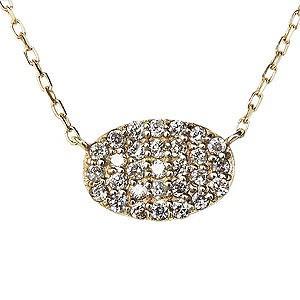 ダイヤモンド ダイヤモンドペンダントネックレス ダイヤ 0.14ct 18金 ゴールド K18 ダイヤネックレス オーバル型 チェーン付 送料無料|shinjunomori