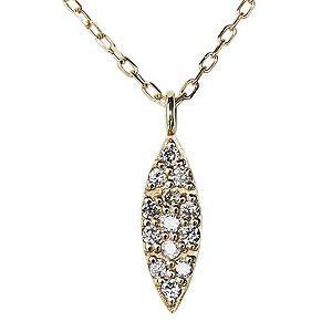 ダイヤモンド ダイヤモンドペンダントネックレス ダイヤ 0.06ct 18金 ゴールド K18 ダイヤネックレス チェーン付 マーキス型 送料無料|shinjunomori