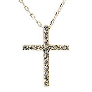 ネックレス ペンダント ダイヤモンド クロス 十字架 ペンダントネックレス ダイヤモンド 0.20ct K18 ゴールド チェーン付き 送料無料|shinjunomori