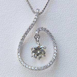 ダイヤモンドペンダント ネックレス K18WG ホワイトゴールド ベネチアンチェーン45cm スライド調整付き|shinjunomori