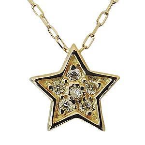 ダイヤモンドペンダントネックレス ダイヤモンド ネックレス 0.04ct K18 ゴールド スター型 星 チェーン付き 送料無料|shinjunomori