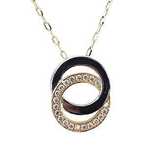 ネックレス ペンダント ダイヤモンド 0.12ct K18 ゴールド PT900 プラチナ チェーン付き 送料無料|shinjunomori