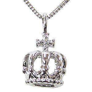 クラウン ホワイトゴールド チェーン付 一粒 ダイヤモンド 0.01ct 王冠 ペンダント ネックレス|shinjunomori