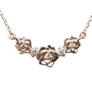 ダイヤモンド ペンダント ネックレス 薔薇モチーフ ピンクゴールド K18 ダイヤモンド 0.04ct フラワー 花|shinjunomori