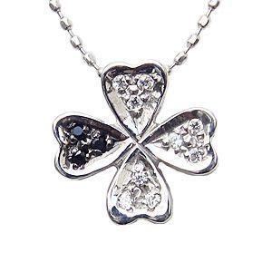 ダイヤモンド 四つ葉のクローバー ネックレス K18 ホワイトゴールド ペンダント|shinjunomori