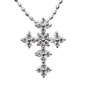 クロス ダイヤモンドネックレス ダイヤモンド 0.24ct K18 ホワイトゴールド|shinjunomori