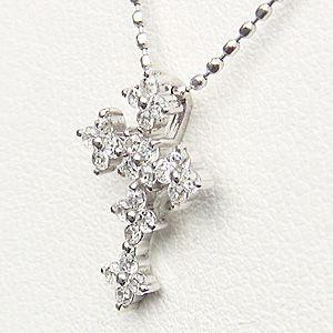 クロス ダイヤモンドネックレス ダイヤモンド 0.24ct K18 ホワイトゴールド|shinjunomori|02