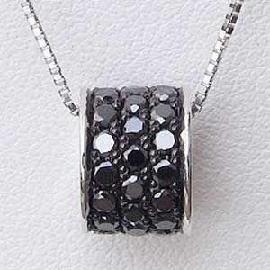 ペンダント ブラックダイヤモンド ネックレス K18WGホワイトゴールド ベネチアンチェーン付|shinjunomori