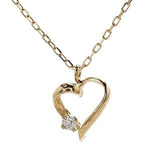 ダイヤモンド ゴールド K18 オープンハート ネックレス ペンダント プチネックレス ダイヤ 0.01ct チェーン付き 品質保証書付き ケース付き|shinjunomori