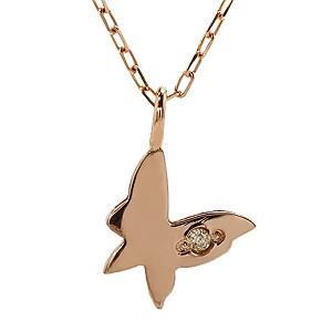 ダイヤモンド ピンクゴールド K18 バタフライ ネックレス ペンダント プチネックレス ダイヤ 0.003ct チェーン付き 品質保証書付き ケース付き|shinjunomori