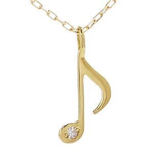 ダイヤモンド ゴールド K18 音符モチーフ ネックレス ペンダント プチネックレス ダイヤ 0.003ct チェーン付き 品質保証書付き ケース付き|shinjunomori