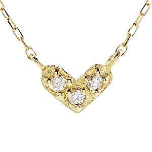 ダイヤモンド ゴールド K18 ハートモチーフ ネックレス ペンダント プチネックレス ダイヤ 0.02ct チェーン付き 品質保証書付き ケース付き|shinjunomori