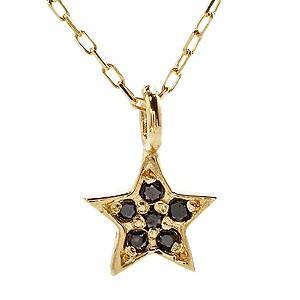 ネックレス ペンダント プチネックレス ブラックダイヤモンド ゴールド K18 スターモチーフ 星 チェーン付 品質保証書 ケース付|shinjunomori