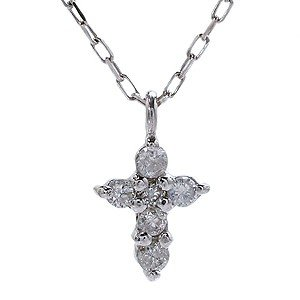 クロス 十字架 ネックレス ペンダント プチネックレス ダイヤ ダイヤモンド ホワイトゴールド K18 チェーン付き 品質保証書付き ケース付き|shinjunomori