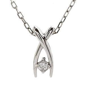 ダイヤモンド ホワイトゴールド K18 ネックレス ペンダント プチネックレス ダイヤ 0.01ct チェーン付き 品質保証書付き ケース付き|shinjunomori