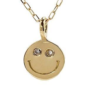 ダイヤモンド ゴールド K18 スマイル ネックレス ペンダント プチネックレス ダイヤ 0.006ct チェーン付き 品質保証書付き ケース付き|shinjunomori