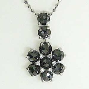 ダイヤモンド ペンダントトップ ブラックダイヤモンド K18WG ホワイトゴールド ネックレス|shinjunomori