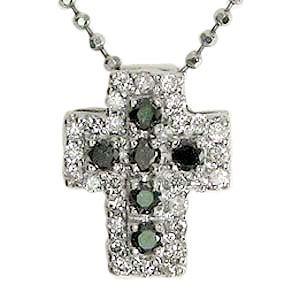 ネックレス ダイヤモンド クロス ホワイトゴールド ブラックダイヤモンド パーティー|shinjunomori