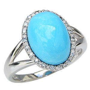 ターコイズ トルコ石 リング ダイヤモンド 0.10ct ホワイトゴールド 指輪 shinjunomori