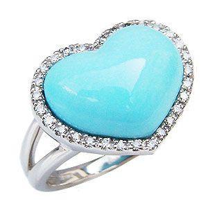 ターコイズリング トルコ石リング ハートリング ダイヤモンド 0.15ct K18ホワイトゴールド 指輪 shinjunomori