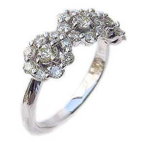 ダイヤモンド リング 指輪 K18WG ホワイトゴールド ライトイエロー 花モチーフ|shinjunomori