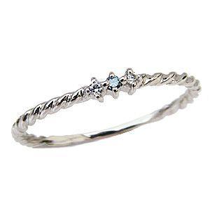 ブルーダイヤモンドリング 0.03ct K18 スリーストーンリング ダイヤ指輪 ホワイトゴールド|shinjunomori