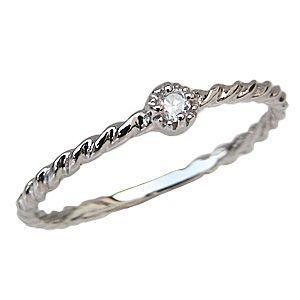ダイヤモンドリング 一粒石 K18ホワイトゴールド マリッジリング 指輪 シンプル|shinjunomori