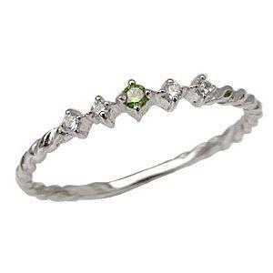 グリーンガーネットリング ダイヤモンドリング K18 指輪 ホワイトゴールド shinjunomori