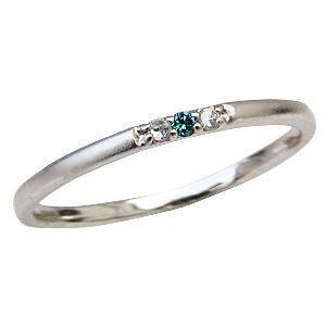 ブルーダイヤモンドリング ピンキーリング ダイヤモンド0.03ct 指輪 K18ホワイトゴールド|shinjunomori