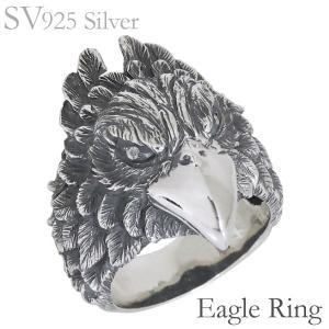 リング 鷹のデザイン いぶし加工 ダイヤモンド SVシルバー925 メンズ|shinjunomori