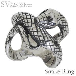 リング 白蛇のデザイン いぶし加工 ダイヤモンド SVシルバー925 メンズ|shinjunomori