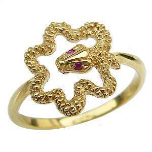 蛇 リング ルビー スネーク ヘビ 指輪 K18 ゴールド|shinjunomori
