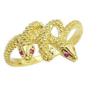 ヘビ リング ルビー スネーク 蛇 ヘビ 指輪 K18 ゴールド 18金 18k レディース 金運|shinjunomori