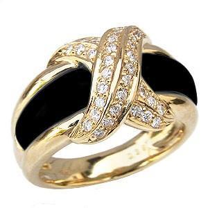 オニキスリング オニキス指輪 黒瑪瑙 ダイヤモンド 0.38ct K18 ゴールド 18金 指輪 リング 8月誕生石 送料無料 shinjunomori