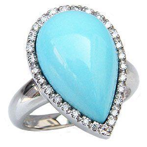 ターコイズリング トルコ石リング ダイヤモンド 0.18ct 指輪 K18 ホワイトゴールド shinjunomori