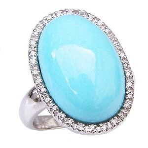 ターコイズリング トルコ石リング ダイヤモンド 0.16ct 指輪 K18 ホワイトゴールド shinjunomori